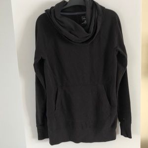 Llbean black funnel neck kangaroo sweater long xs